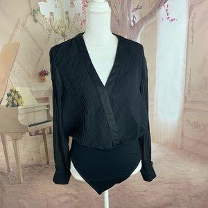 NEW TopShop Sheer Pleated Black Bodysuit